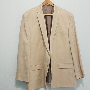 Calvin Klein Size 56R 100% Linen Tan Sports Coat